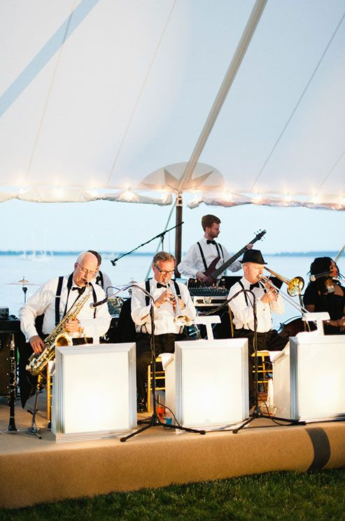A jazz band heats up the night for this classic outdoor wedding by the bay.