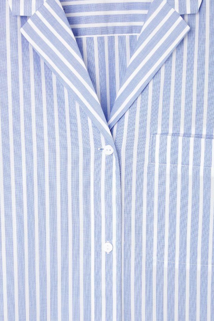 COS image 13 of Striped pyjama shirt in Sky Blue