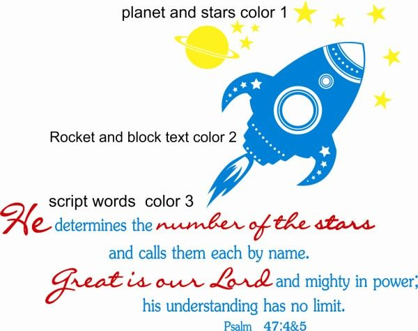 Psalm 47 Outer Space Bedroom Mural Christian Statement