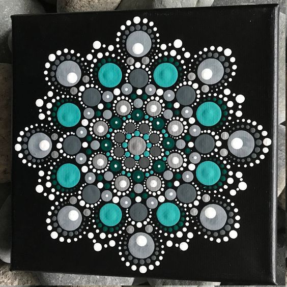 6 X 6 Hand Painted Mandala On Canvas Dot Painting Dot Painting