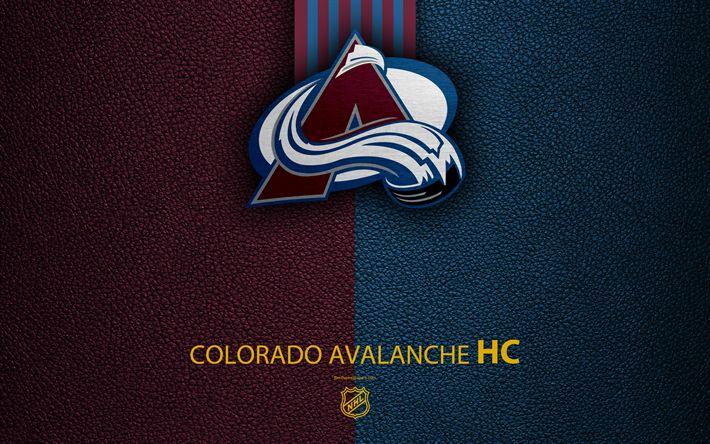 Descargar fondos de pantalla Colorado Avalanche, HC, 4K, equipo de hockey, NHL, textura de cuero, logotipo, emblema, Liga Nacional de Hockey, Denver, Colorado, estados UNIDOS, de hockey, de la Conferencia Oeste, División Central