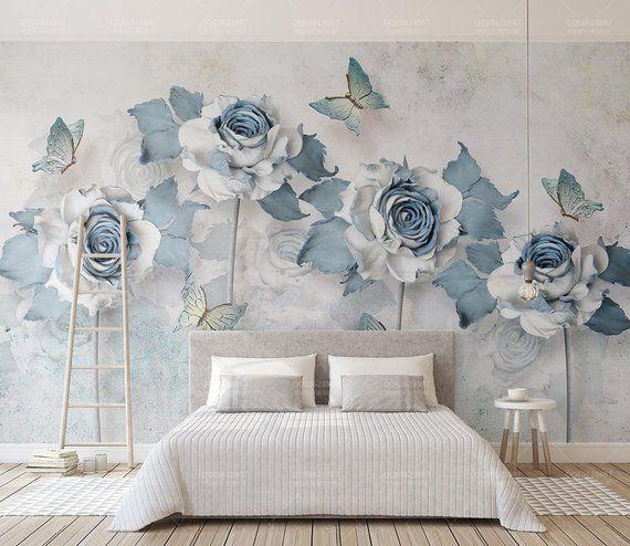 Light Blue Flowers And Butterflies Textile Wallpaper Soft Floral