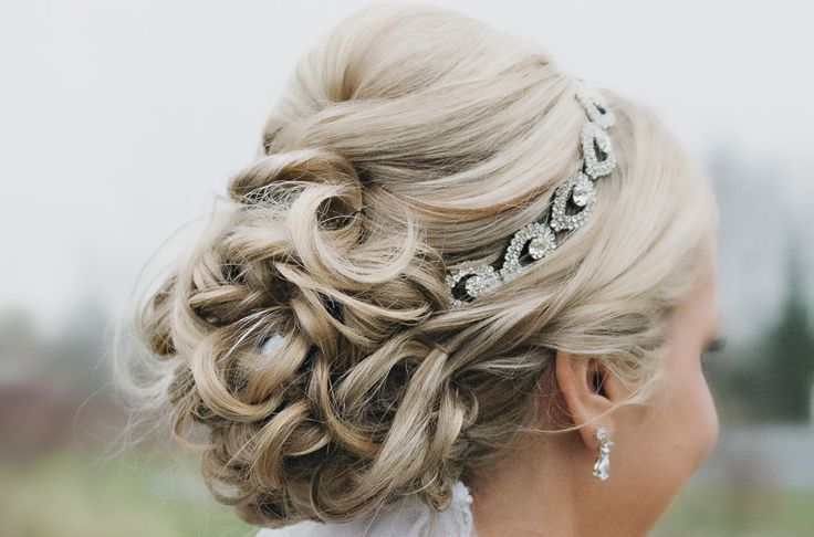 Crystal bridal headband with curled updo