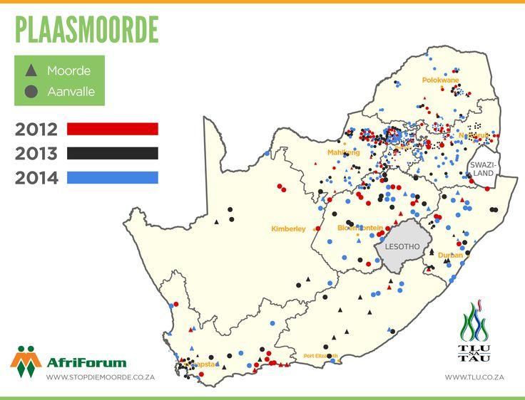 2012 - 2014  Plaasaanvalle - en moorde op Suid-Afrikaanse kaart aangedui