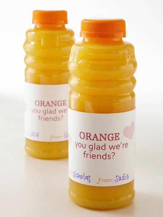 Orange Juice Valentines Day Label: Food Gifts, Valentines Ideas, Juice Valentines, Gifts Ideas, Orange You Glad, Valentines Day, Friendship Gifts, Gifts Tags, Orange Juice