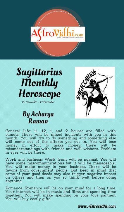 Get your Sagittarius Monthly horoscope and Sagittarius love, career and business horoscope.