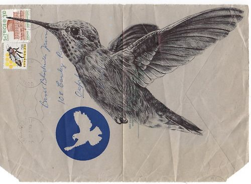 Drawing on old envelope by Mark Powell