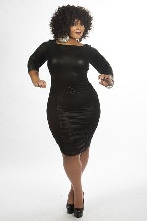 Black Foxy Panel Body Con Dress Plus Size Fashion