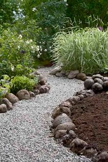 Gravel walkway with river rock boarder to match river rock on house.