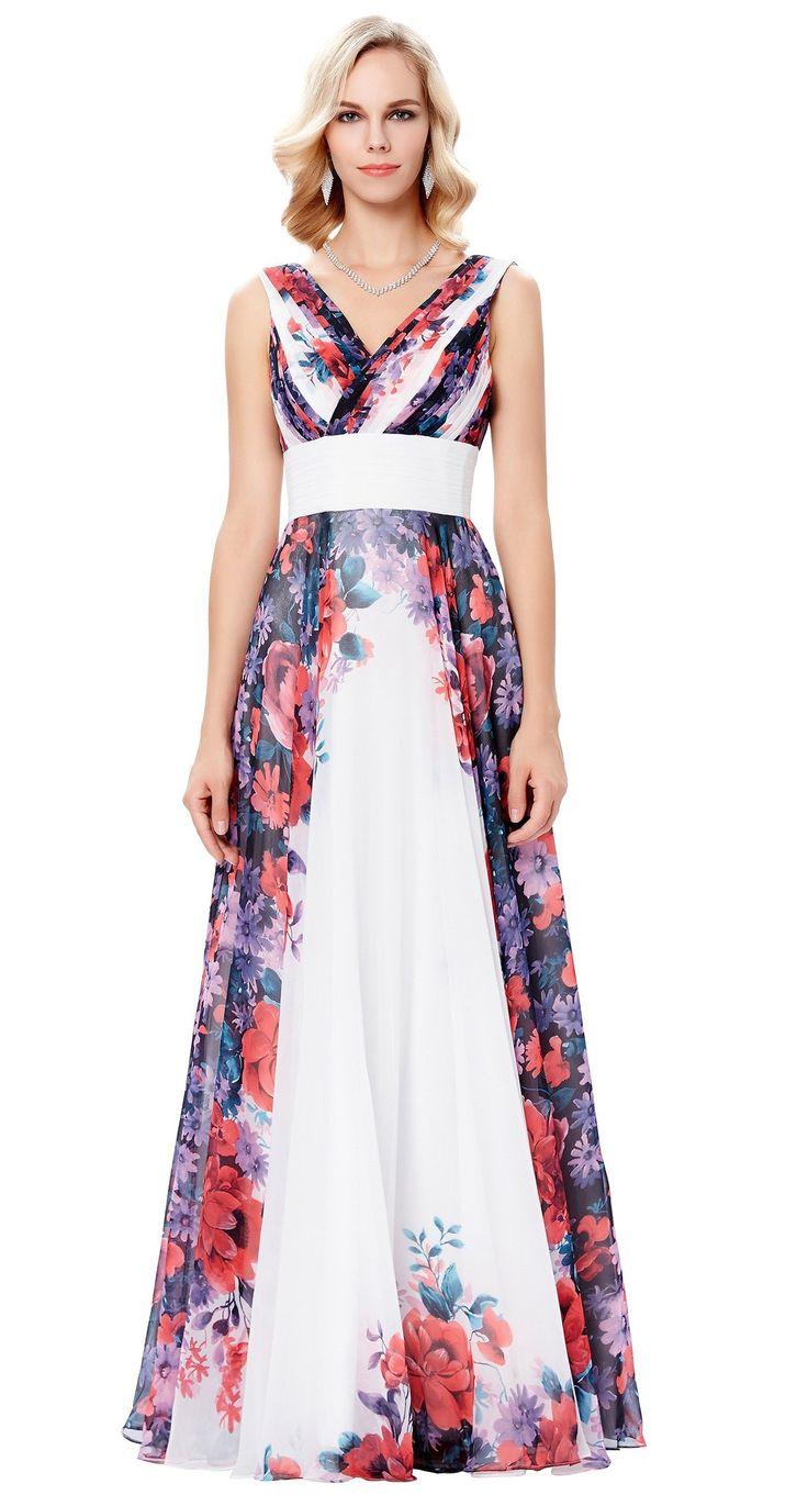 White floral evening dress