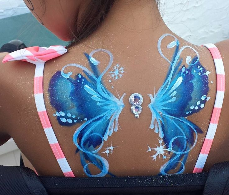 Fantasy fairy / butterfly one stroke back design! Face painting body art.