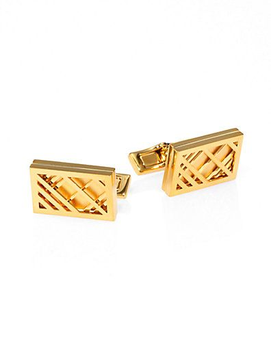 Burberry Metal Check Cuff Links via Saks | Gifts {Hommes} | Pinterest