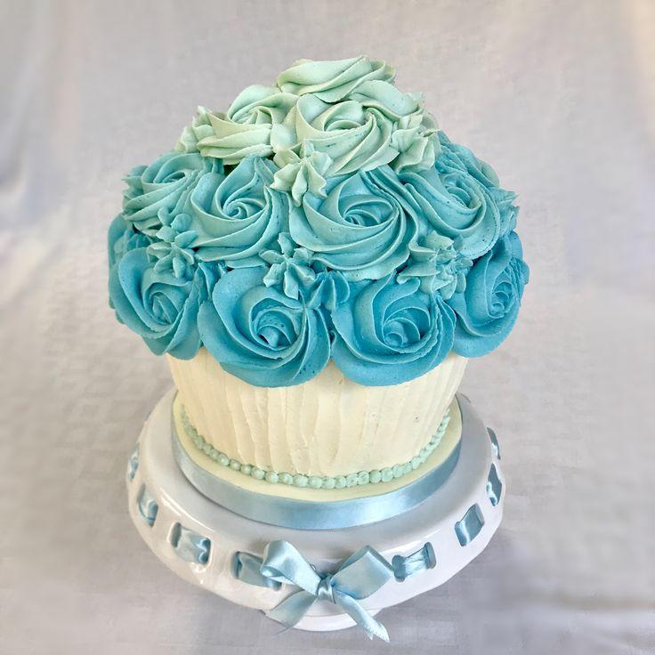 Blue ombré giant cupcake for a smash cake