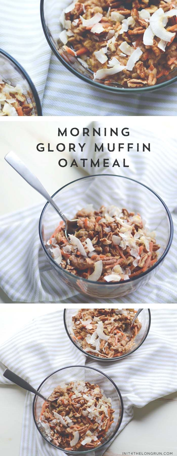 morning glory muffin oatmeal // this classic muffin is transformed into a healthy, warming oatmeal.