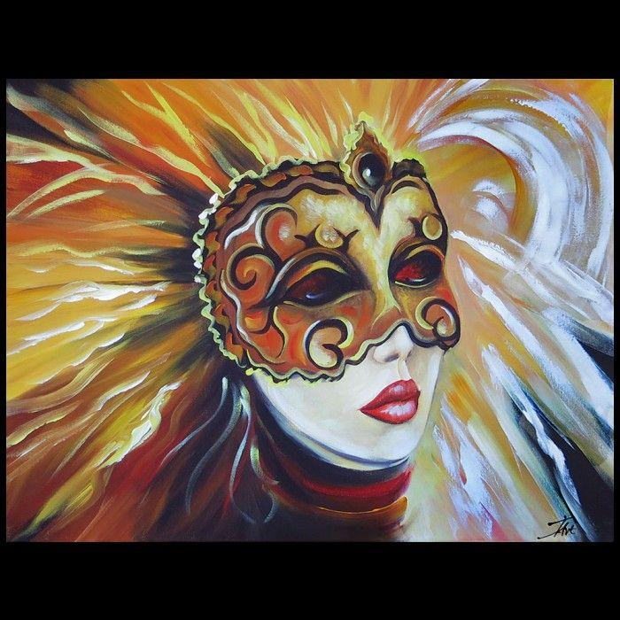 Schilderijen Vrouw Het Dragen Van Carnaval Masker Kunst