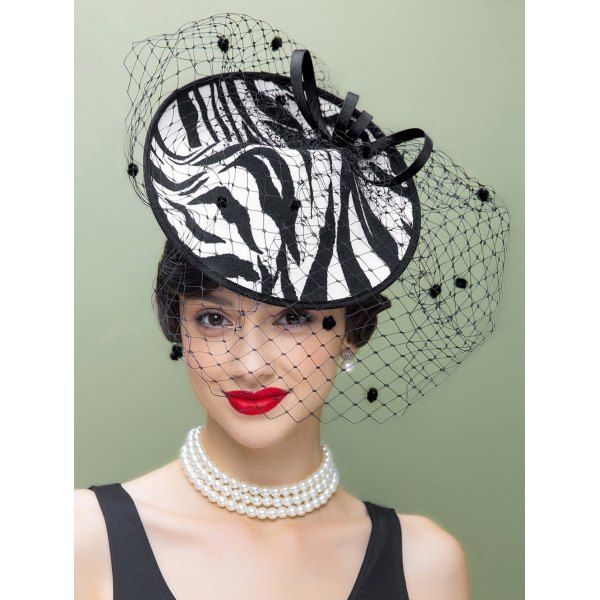 $31.06 Zebra Striped Fascinator Cocktail Hat with Veil