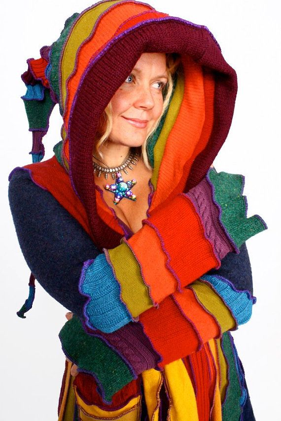 Katwise Elf Coat ~~ Green Earth Goddess OOAK Recycled Sweater Tutorial - Plus size The Tutorial is in color and 72 pages all for download and costs 9.00.
