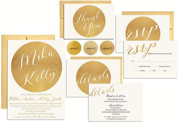 Metallic Gold Wedding Invitation Set, Modern Wedding Invitation, rsvp card, detail card, wedding invitation suite.
