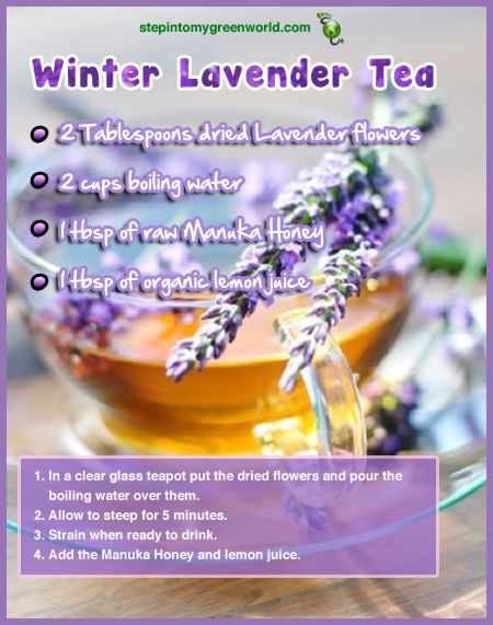 ☛ A winter lavender tea to help you sleep and aid with digestion.  ✒ Share | Like | Re-pin | Comment