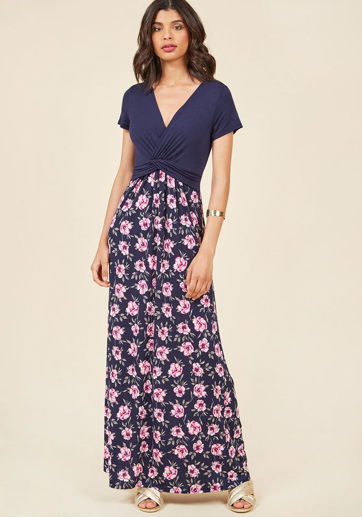 Overseas Ease Dress Floral Maxi Dress in Navy in M, #ModCloth