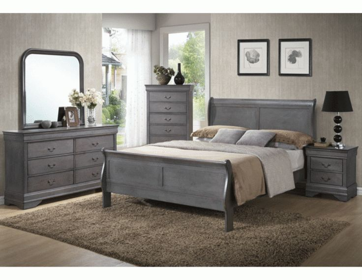 Caroline Grey Sleigh Bedroom Set I Have This Set In Black And One Day I May Repaint It Gray Getting Crafty Pinterest Bedrooms