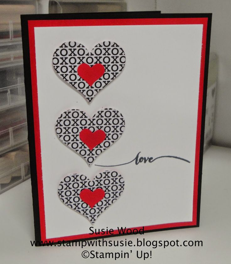 a heart card using the stacked with love - Pinterest Valentines Cards