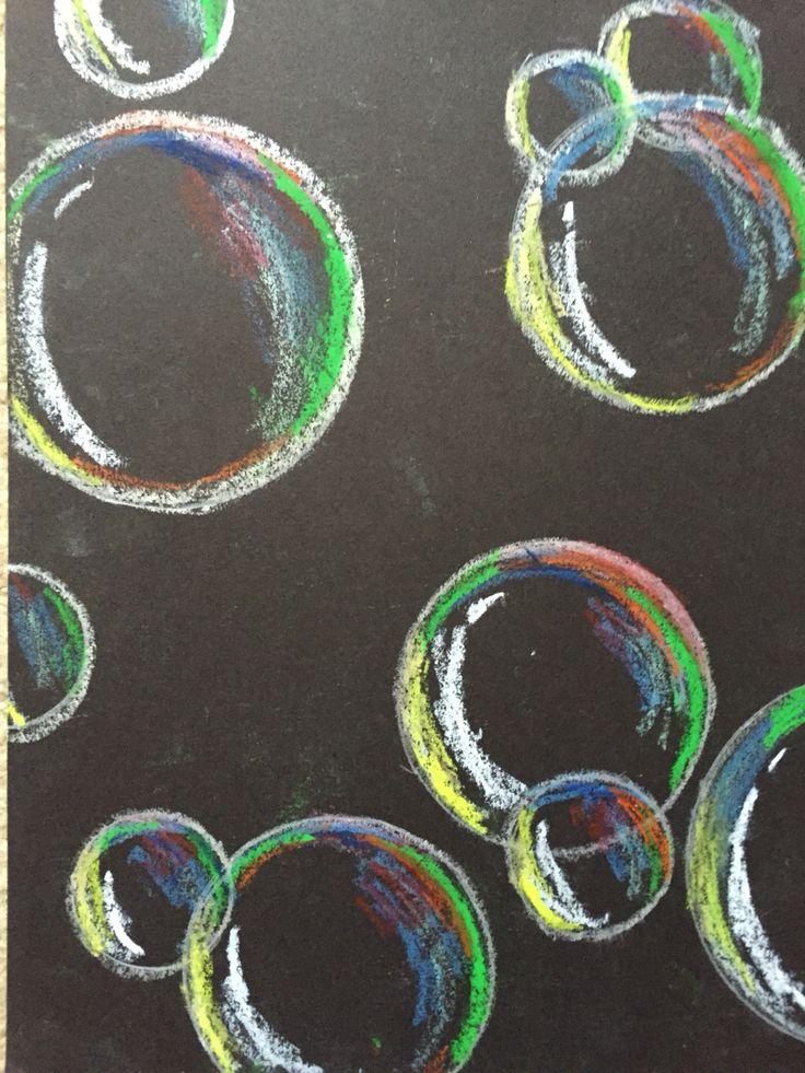 Bubbles using oil pastel