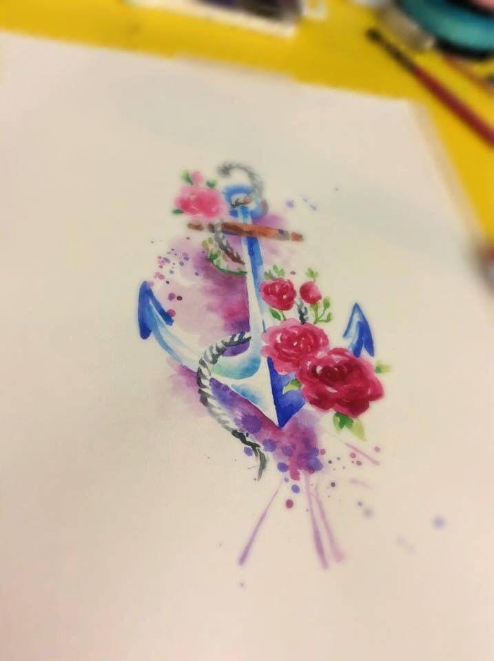 Watercolor Anchor and Roses. For a tattoo. Done at Studio Lotus, Campinas-SP, BRAZIL. Deborah (Deh) Soares. More : facebook.com/studiolotustatuagem