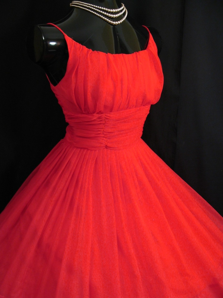 Vintage 1950 S 50s Bombshell Red Ruched Chiffon Organza