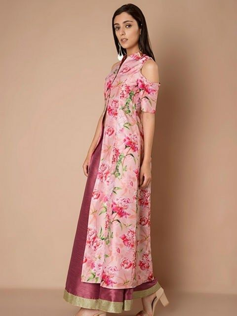 c3b9520f037 Silk Cold Shoulder Maxi Jacket – Pink Floral