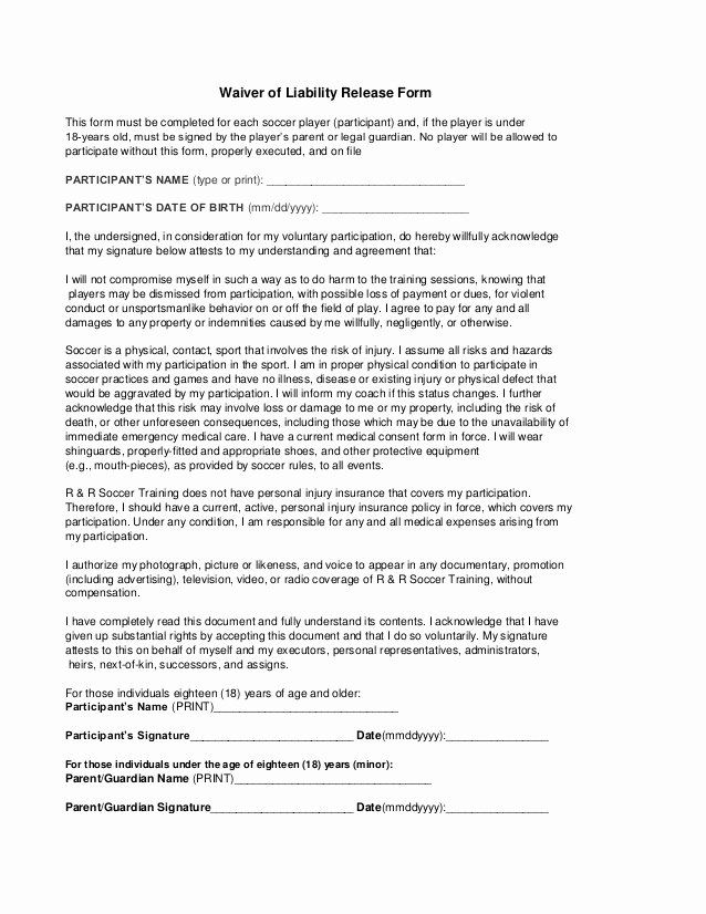 Release Of Liability Form Pdf Best Of Free Printable Liability Release Waiver Form Form Generic Liability Waiver Liability Form