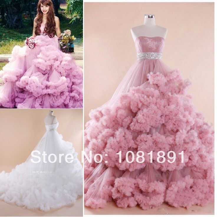 Pink princess ball gown pink wedding dress ruffle wedding for Pink ruffle wedding dress