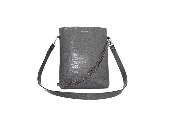 Silver Glitter Patent Leather Bag Embossed Croc by MONAObags