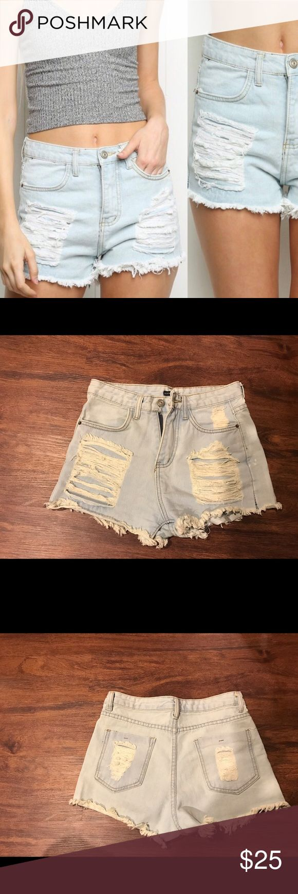 "Brandy Melville High Waisted Jean Shorts 🎉💋 Brandy Melville High Waisted Jean Shorts 🎉💋 so freaking cute they can go with anything absolutely love the style. Women's size medium fits for like a s or xm. I would say they are bit more on the shorter side and would probably fit someone with a size 24-26"" waist with slender legs. I gained weight and these do not fit me;( Brandy Melville Shorts Jean Shorts"