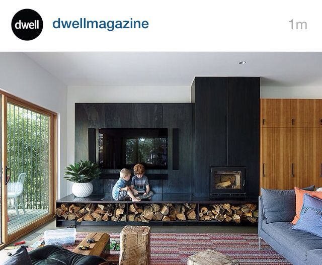 Fireplace built in shelf and to unit Living room idea