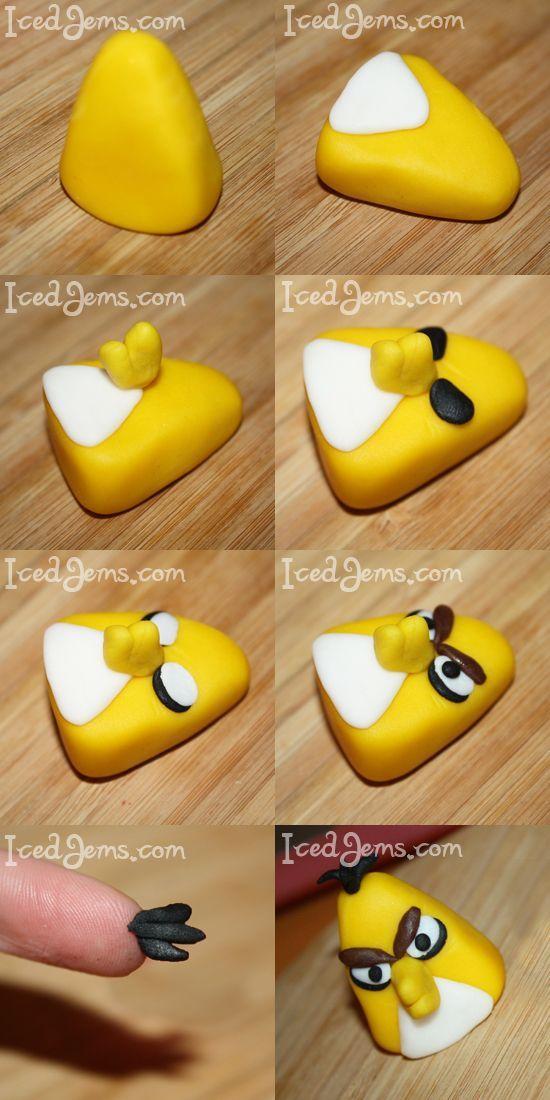 angry bird (yellow) fondant tutorial