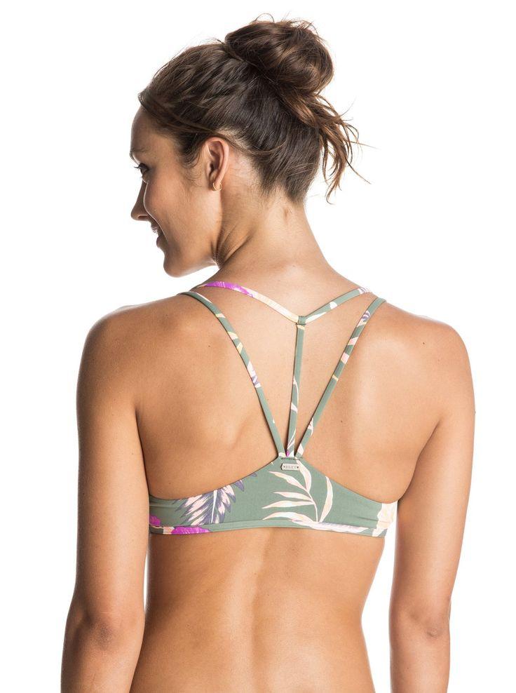 Castaway Floral Athletic Tri Bikini Top ERJX303218 | Roxy