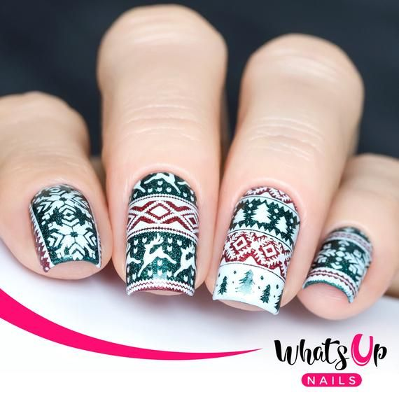 B003 Sweater Weather Stamping Plate For Christmas Stamped Nail Art ...
