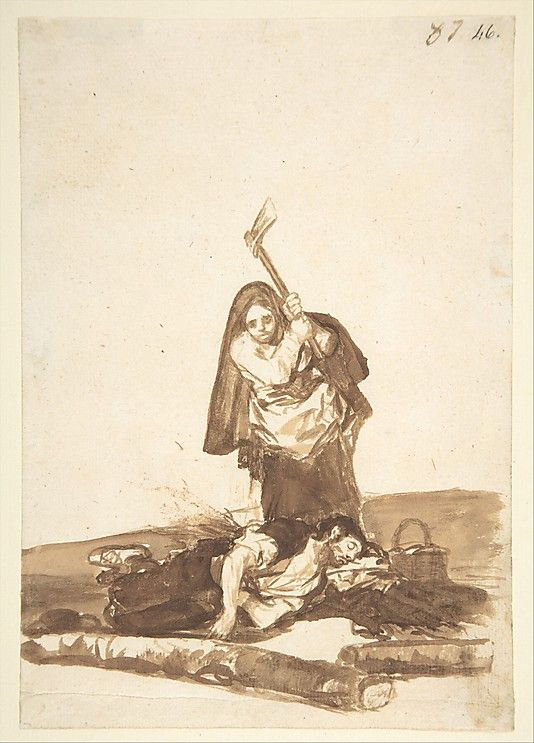 A Woman Murdering a Sleeping Man, from Images of Spain Album (F), 87  1812-20 / Goya.
