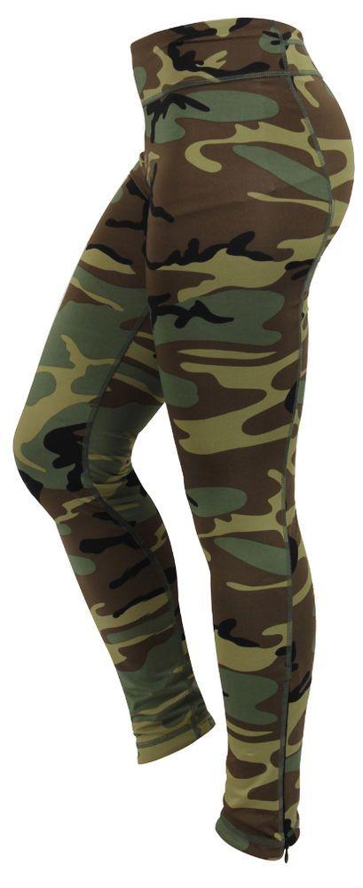 Womens Ladies Woodland Workout Army Camo PERFORMANCE Yoga Snug Leggings Pants #Rothco #CasualPants