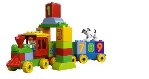 Includes child LEGO DUPLO figure Features 10 numbered bricks, dog, 3 wagon bases and other assorted bricks Rebuild into a tunnel, building or dog house with a roof that opens! LEGO DUPLO My First Number Train Building Set 10558. toys4mykids.com