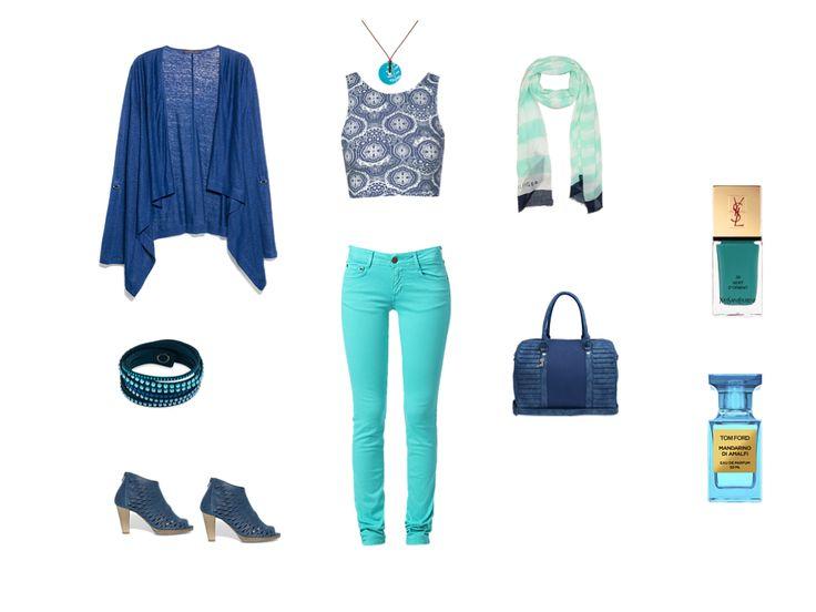 Décontracté : Top Topshop bleu, Sac Lollipops bleu et Veste Violeta BY MANGO