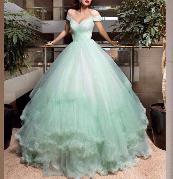 Mint Green Wedding Dresses, Ball Gown Bridal Dresses, Spaghetti Strap Wedding Gowns 2017, Fashion Off The Shoulder Wedding Dresses 2017,Vintage Tulle Mint Green Bridal Dresses,