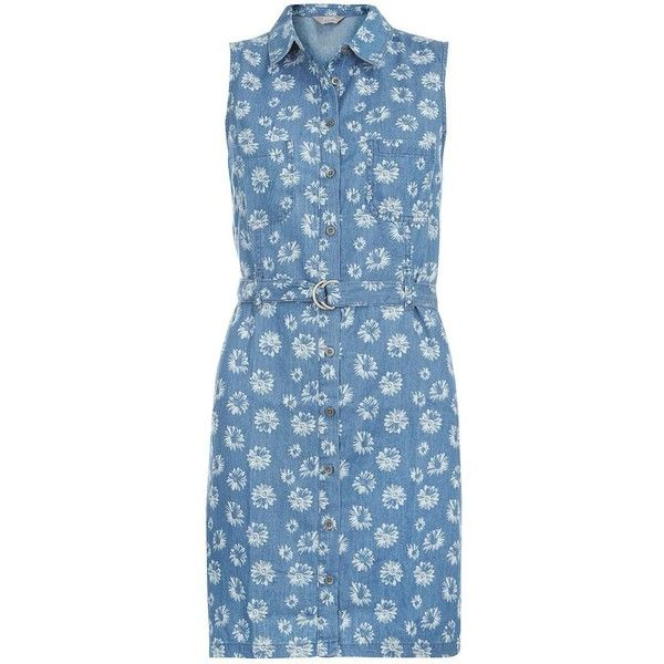 Dorothy Perkins Sleeveless Denim Shirt Dress ($38) ❤ liked on Polyvore featuring dresses, blue, sleeveless denim dress, blue sleeveless dress, blue dress, daisy dress and shirt dress