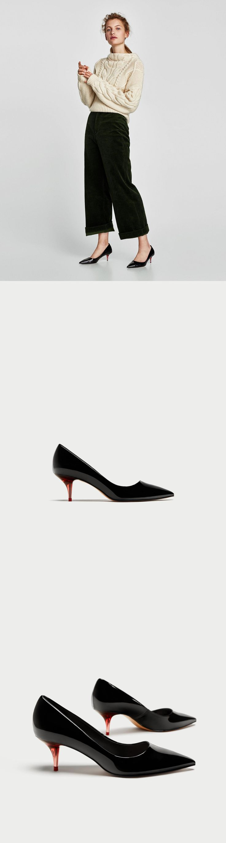Transparent Mid-Heel Court Shoes // 49.90 USD // Zara // Black mid-heel shoes. Contrasting red ombré-effect methacrylate heels. Pointed toes. Heel height of 5.5 cm. / 2.1″