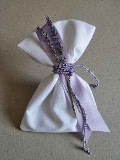 μπομπονιέρα γάμου πουγγί με λεβάντα