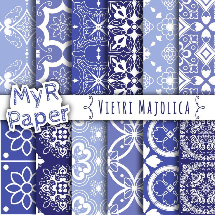 "SALE Digital Paper SALE 50% Majolica Digital Paper: ""Vietri Majolica"" Neapolitan Majolica, Moroccan, Arabesque, Light Blue, Azure & White di MyRpaper su Etsy #digitalpaper #scrapbookingpaper"