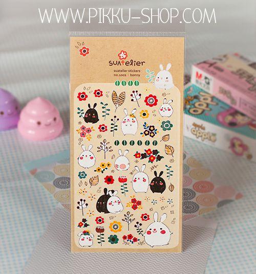 Cute paper stickers with bunnies from Pikku Shop | www.pikku-shop.com | #cute #kawaii #stationery
