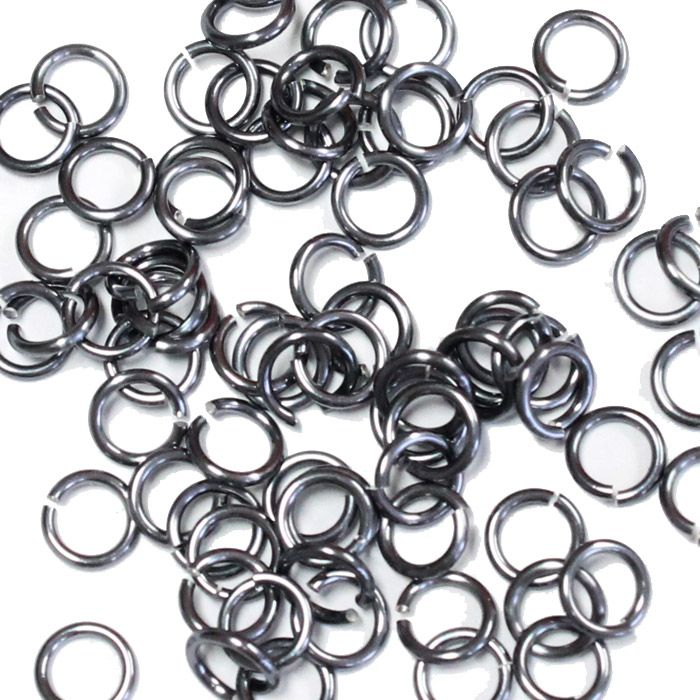 5mm (3/16 Inch) Black Ice Anodized Aluminum Jump Rings