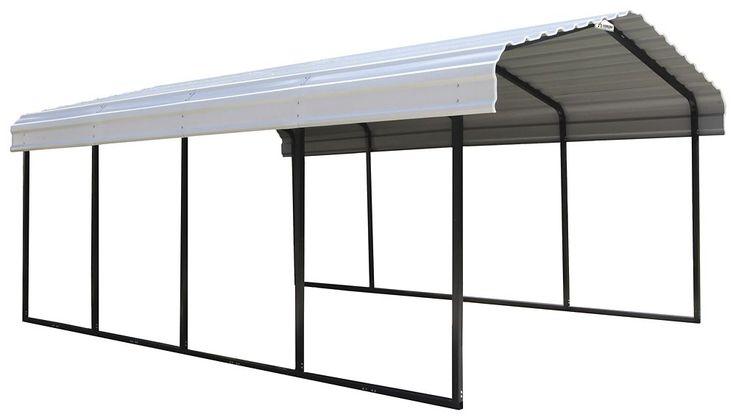 Carport Steel 12 x 20 x 7 ft. Black/Eggshell | Carport ...